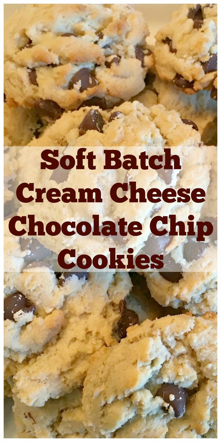 SOFT BATCH CREAM CHEESE CHOCOLATE CHIP COOKIES - Soft, chewy, loaded with semi-sweet chocolate chips! A winning recipe for cookie lovers!     SweetLittleBluebird.com