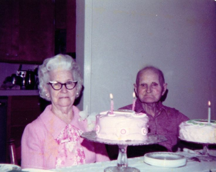 Elderly man & woman celebrating a birthday or maybe an anniversary 1976.