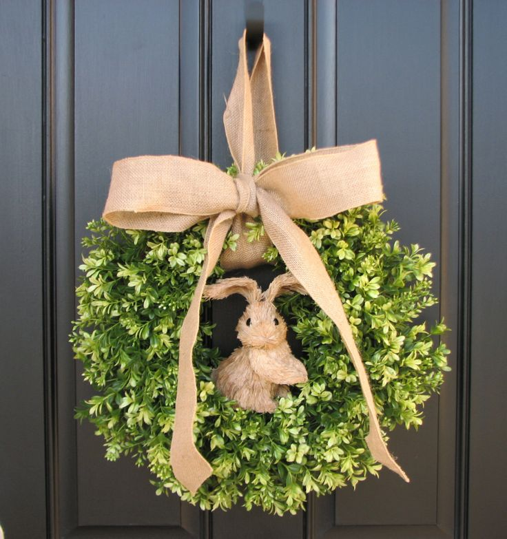 Easter Bunny Decor, Easter Wreaths, Spring Decor, Burlap Bow, Boxwood Wreath, Door Wreaths, Spring Wreaths. $85.00, via Etsy.