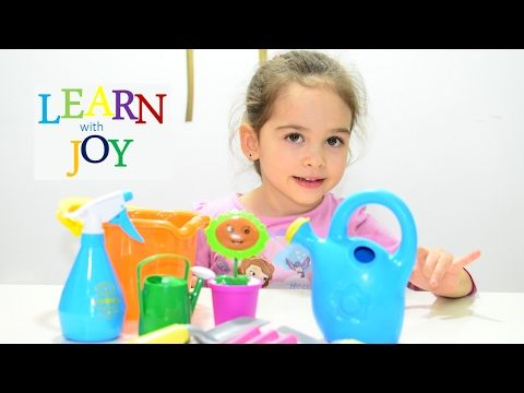 Kids learn planting flower with Kinetic Sand - Play gardening education teaching methods activities