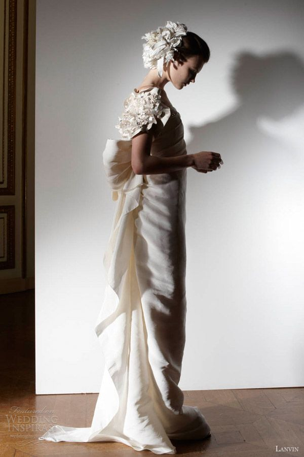 lanvin bridal spring 2013 wedding dress floral sleeve #PerfectMuslimWedding