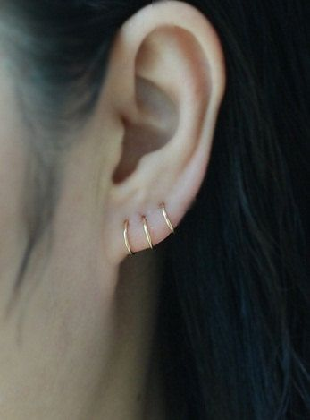 14kt GOLD FILLED Cartilage hoop earring,Ear cuff,Tiny Cartilage Ring,Helix,Tragus,Ear Lobe,Nose Ring,Septum Ring,piercing earring by TakeOnMe7 on Etsy