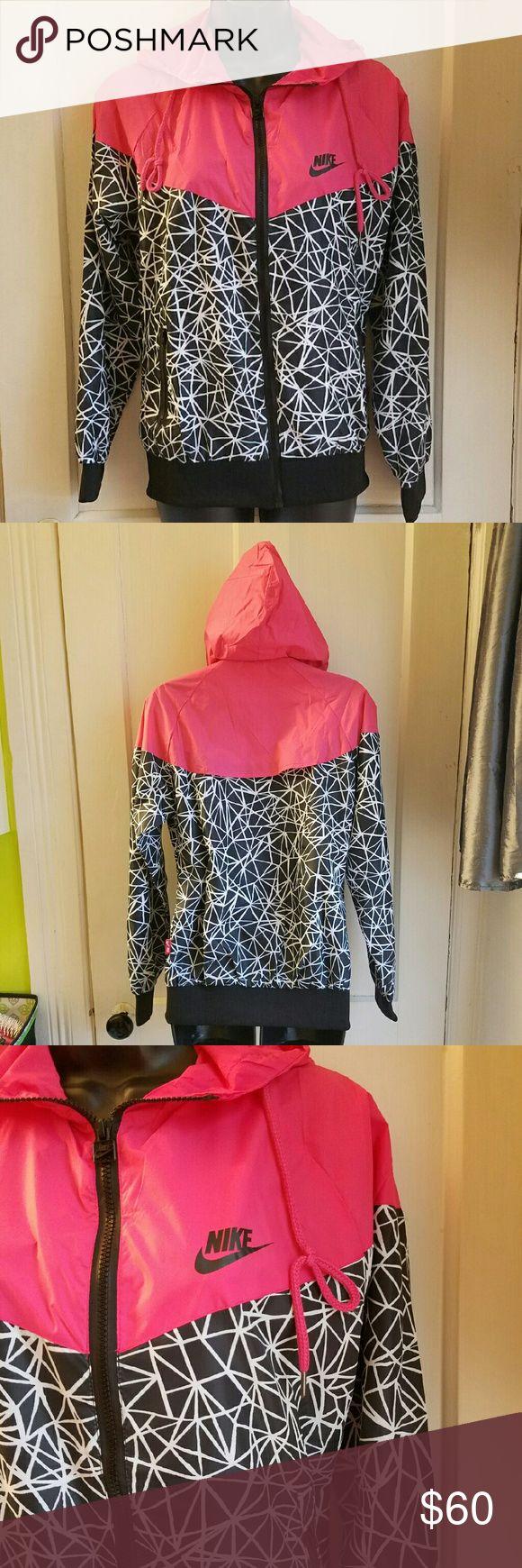 """NWOT NIKE Windrunner Hyper Pink Print NWOT  Nike  Size S   27"""" shoulder to hem  19"""" armpit to armpit   Nike Windrunner Jacket  Hyper Pink/Allover Print Nike Jackets & Coats"""