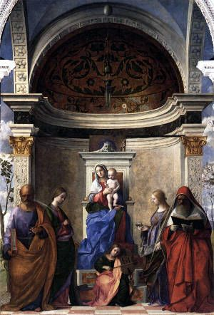 Mary with Jesus in are depicted with four saints. St. Peter St. Catherine of Alexandria, St. Gerome, St. Lucy. Angel at the foot of altar playing violin.