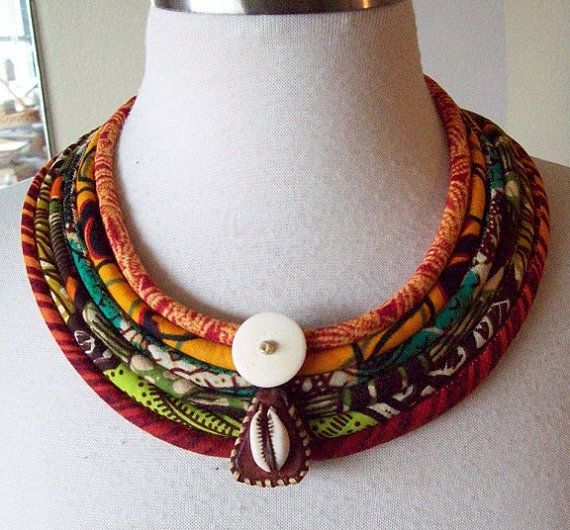 African Fabric Cord Necklace with  horn cowrie by paintedthreads2