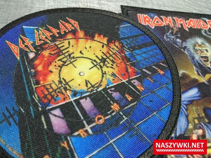 druk na materiale + obszycie na krawędzi fotonaszywka Def Leppard Iron Maiden