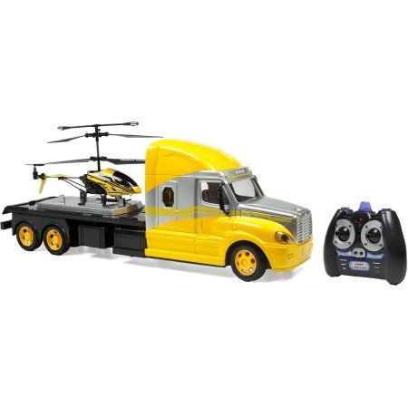 MegaHauler 3.5CH Helicopter and Electric RC Truck IR Combo Pack, Yellow