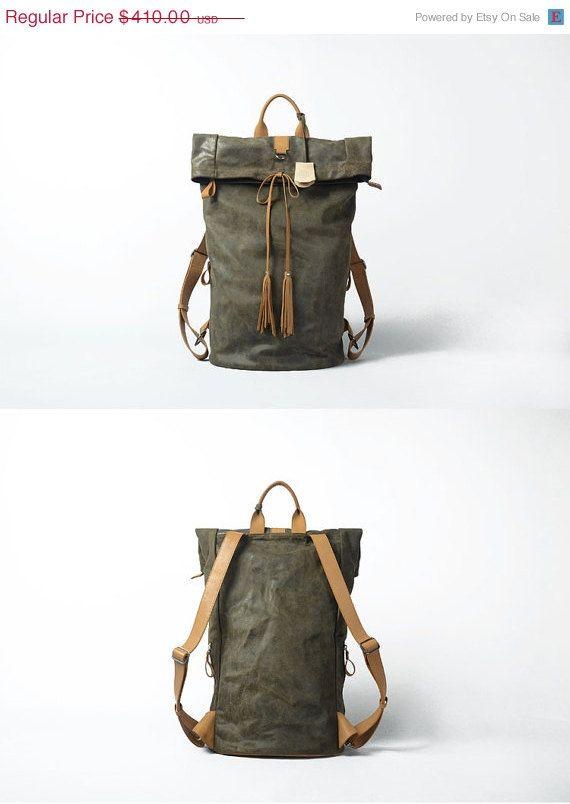 Leather backpack for Men Gray Leather Backpack Large Original Backpack Vintage…