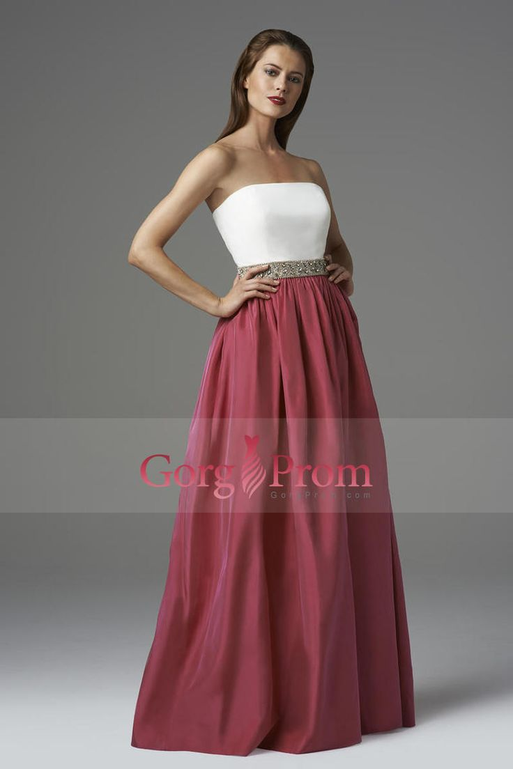 2014 Strapless A Line Prom Dress Floor Length With White Upper Bodice Beaded