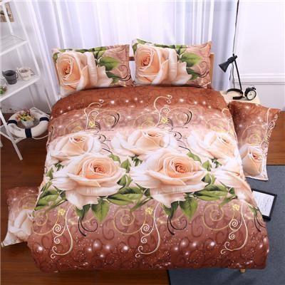 gorgeous 3d rose print queen size romantic bedding set duvet cover bed sheet pillow cases 4pcs kit #BedSheets
