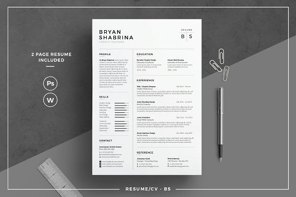Resume/CV - BS by tnsdesign on @creativemarket