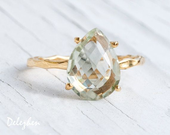 YES paired with twig ring  Green Amethyst Ring Feburary Birthstone Ring by delezhen on Etsy, $72.00