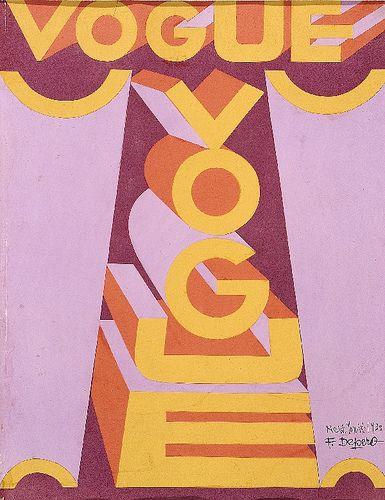 FUTURISMO: Vogue Magazine cover by Fortunato Depero / edicion de 1930 este pintor futurista basaba sus pinturas en las ideas introducidas por otros artistas futuristas. Inclinandose mas por la publicidad, juguetes y muebles futuristas.