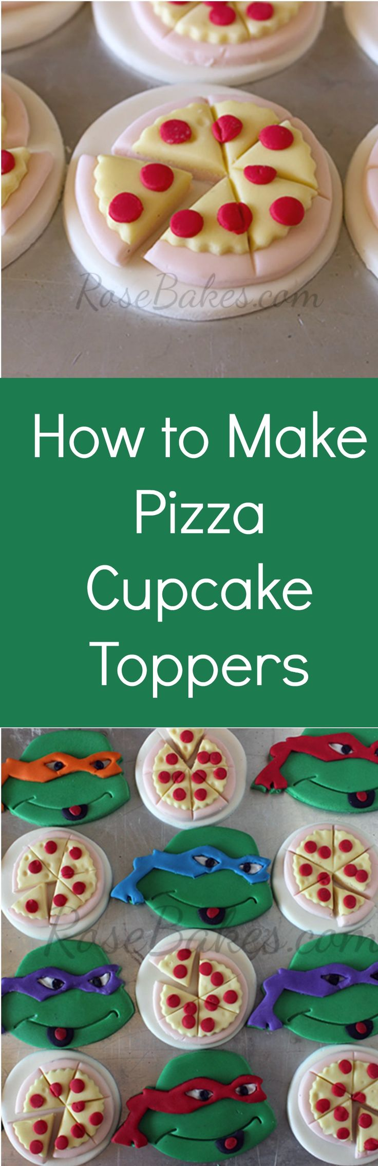 How to Make Teenage Mutant Ninja Turtles Pizza Cupcake Toppers #TMNT #Pizza