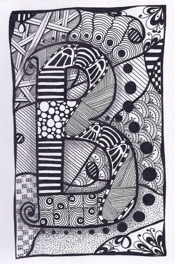 Zentangle Letter A Zebra Letters name bunting by ForeverTangles