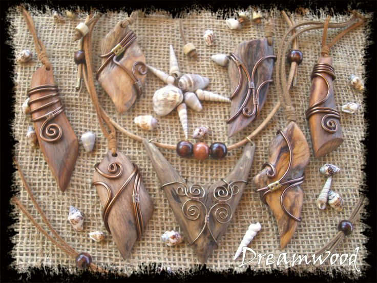 handmade driftwood necklaces (leather, metal, and driftwood from Aegean Sea…
