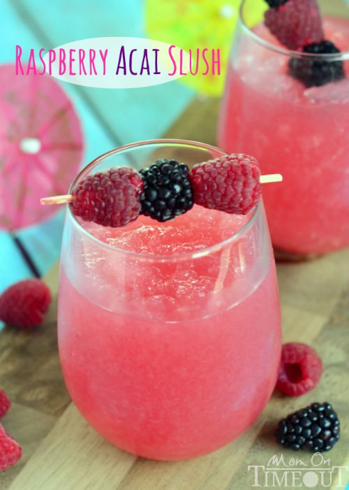 Relax with this delicious and refreshing Raspberry Acai Slush! | MomOnTimeout.com #GiirlsNightIn