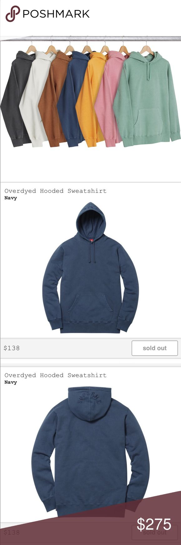 NWT Sold Out Supreme Overdyed Hooded Sweatshirt Supreme is a skateboarding shop/clothing brand established in New York City in April 1994. The brand caters to the skateboarding, hip hop and punk rock cultures, and the youth culture at large. Their shoes, clothing, and accessories create a big secondary market for supreme clothing, because items are produced to a very limited quantity and also because there are only ten stores worldwide. Sold out Sweatshirt Unisex/Men's size Medium. 100%…