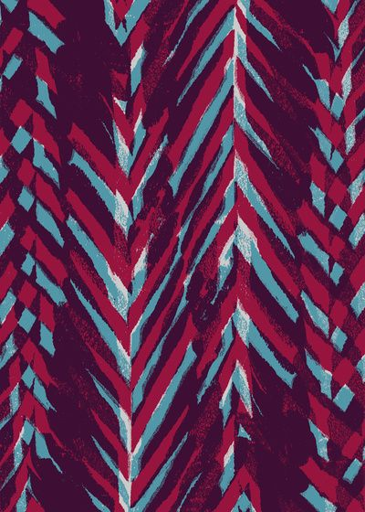 Pink and Blue Painterly Chevrons - Sarah Bagshaw
