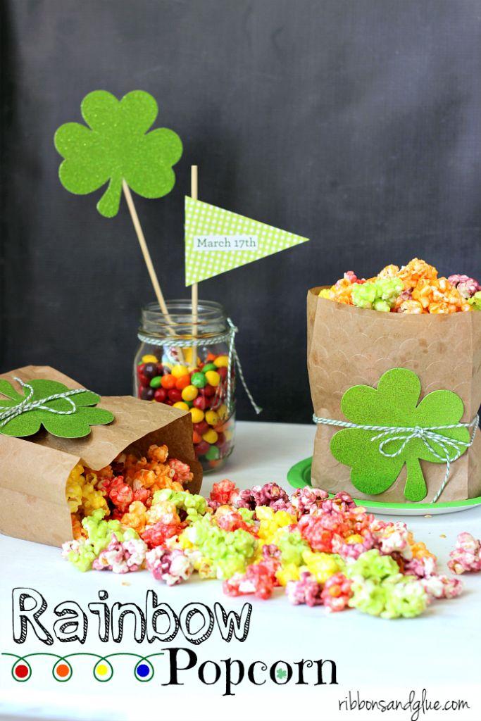 St. Patrick's Day Rainbow Popcorn. Easy recipe to Taste the Rainbow!