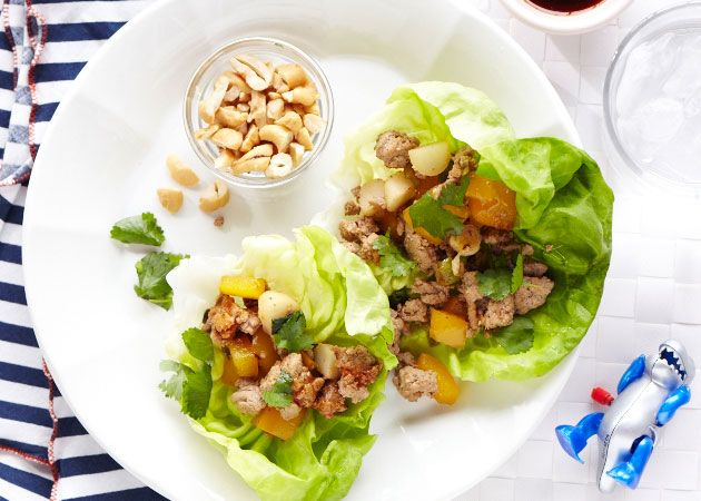 Turkey Lettuce Wraps make a nice, light dinner with great crunch from peanuts and water chesnuts.