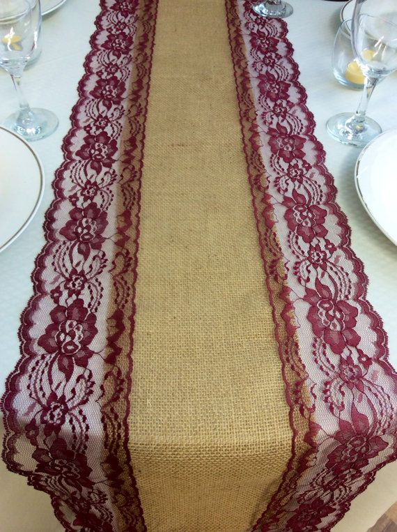 36ft Burlap Lace Runner Wedding table runner with Wine/Burgundy Lace,13in Wide x 432in Long, Fall/ Wine Wedding Decor - Head Table