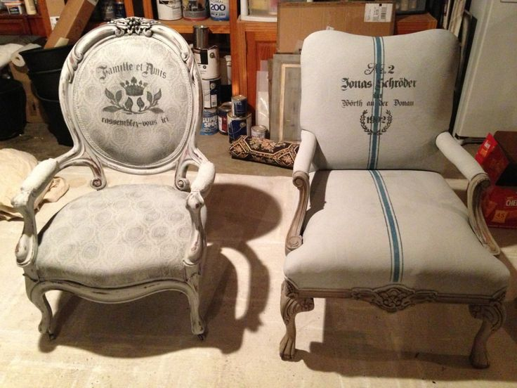 Beautiful chairs and fabric refinished in Paris Grey Chalk Paint® decorative paint by Annie Sloan | By Bella Tucker Decorative Finishes