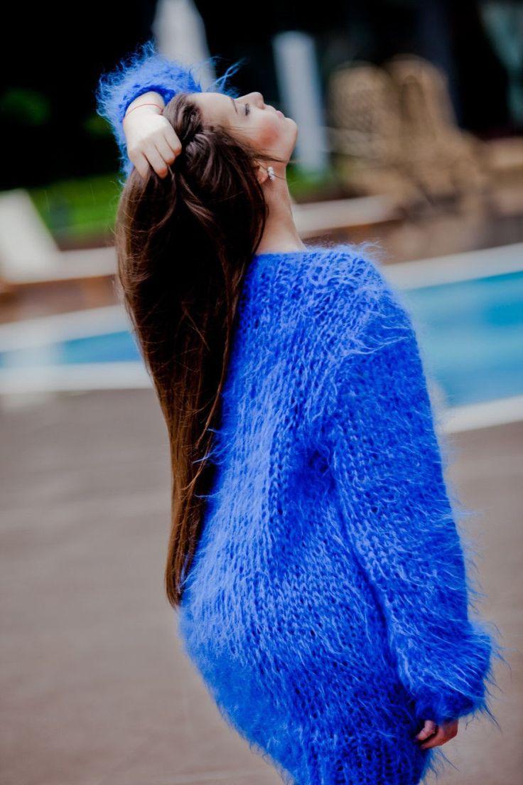 Mohair Sweater Dress Hand Knitted Fuzzy Fluffy Big Needles