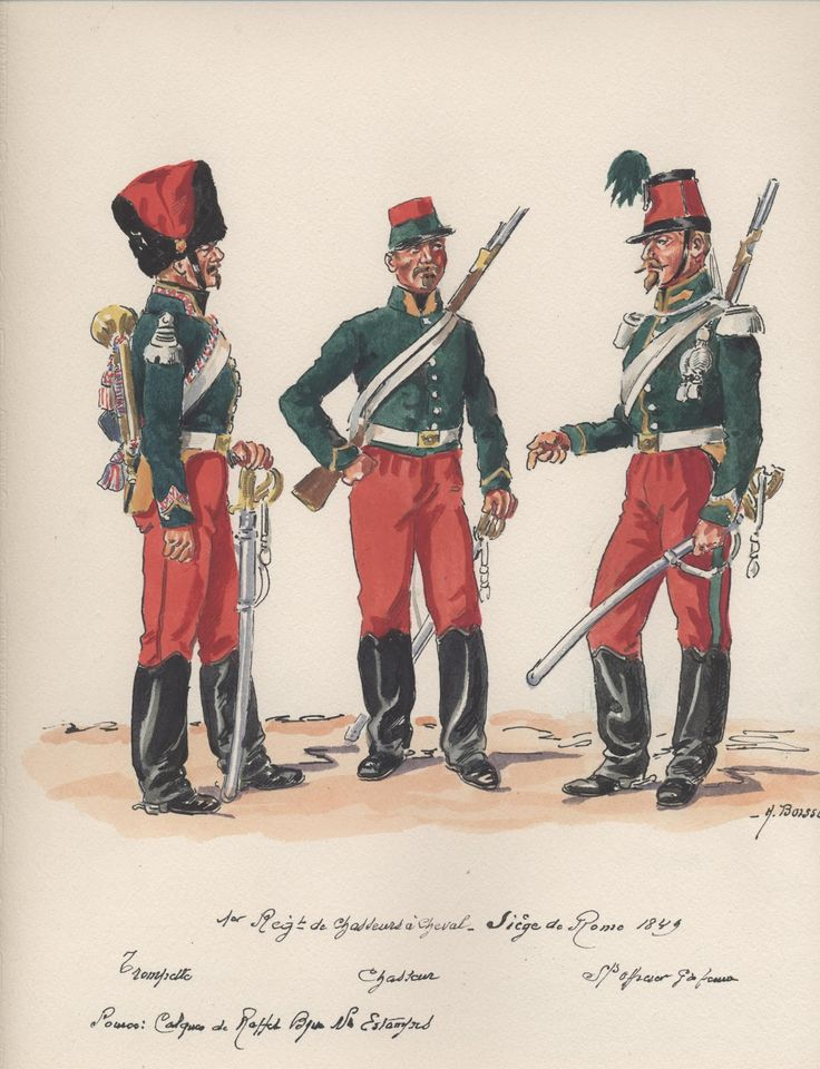 Siege Of Rome 1849, 1st Chasseurs a Cheval, L to R Trumpeter, Chasseur & Sous Officier in Grande Tenue