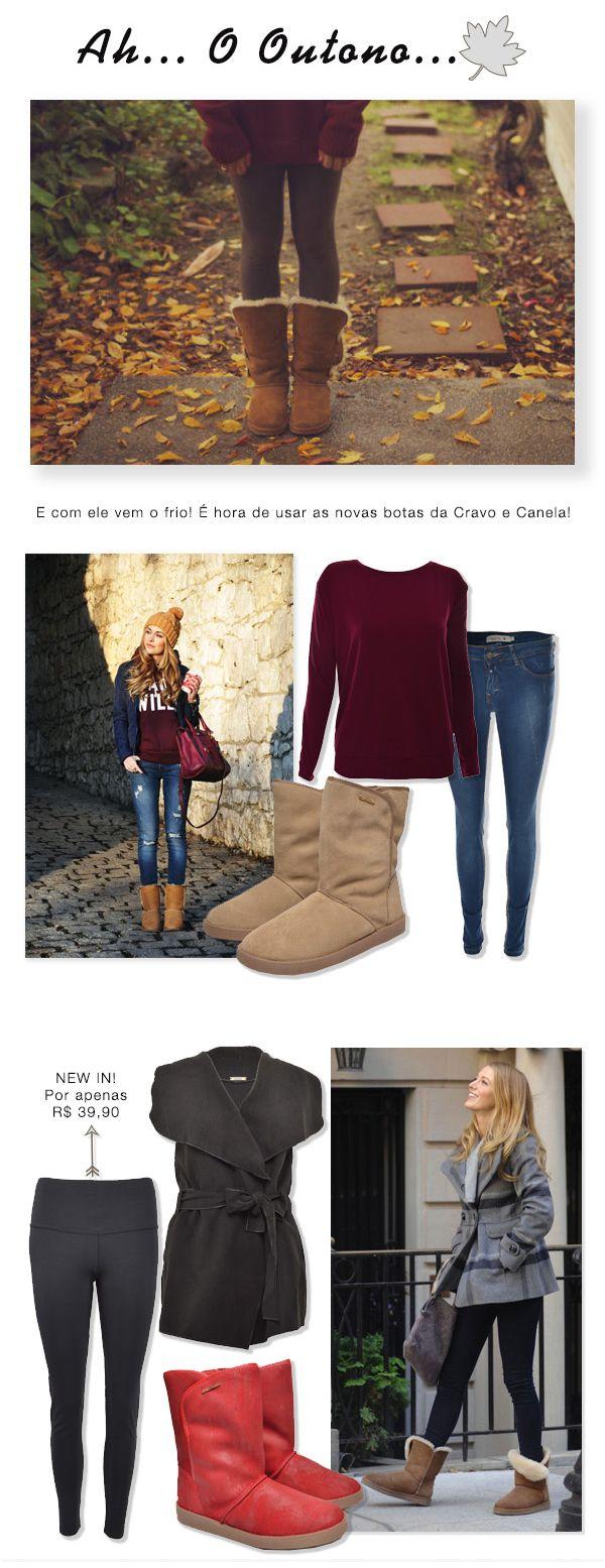 """Looks para o Outono com botas estilo """"Ugg"""" da marca Cravo e Canela. #outono…"""
