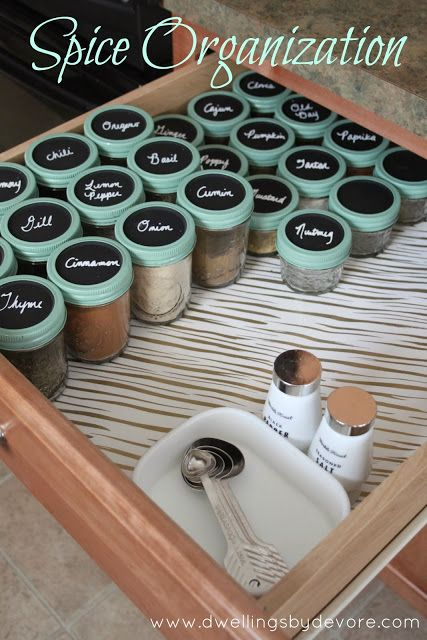 Spice drawer organization. I like this a whole lot better than the traditional, pick up and read the bottle, method