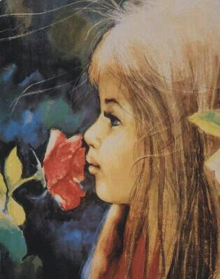 Girl with a red flower