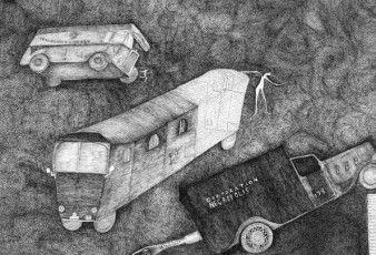 Nick Blinko, Necropolis Asylum Hearse, 2008, Ink on paper