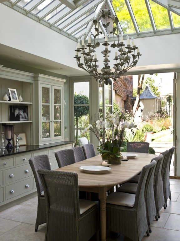Soft grey green walls with dark grey accents… Modern Country conservatory dining…