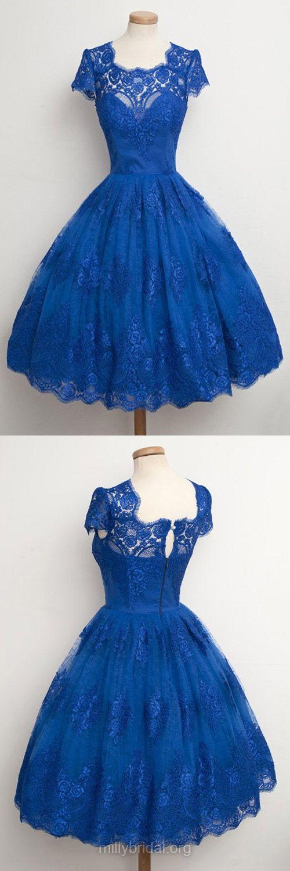 Blue Prom Dresses,Ball Gown Formal Dresses,Scalloped Neck Lace Party Dress,Tea-length Appliques Lace Homecoming Dresses,Vintage Graduation Dresses