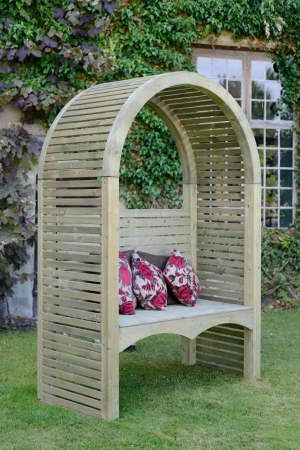 The Grange Contemporary Garden Arbour is a stylish wooden garden arbour that announces its presence with modern straight lines and a classic curving roof. An attractive timber garden arbour which, throughout the summer months will look at home when dressed up with soft furnishings, but can equally be used in its traditional sense, to house an array of garden climbers/creepers. A truly inventive example of a modern garden arbour.