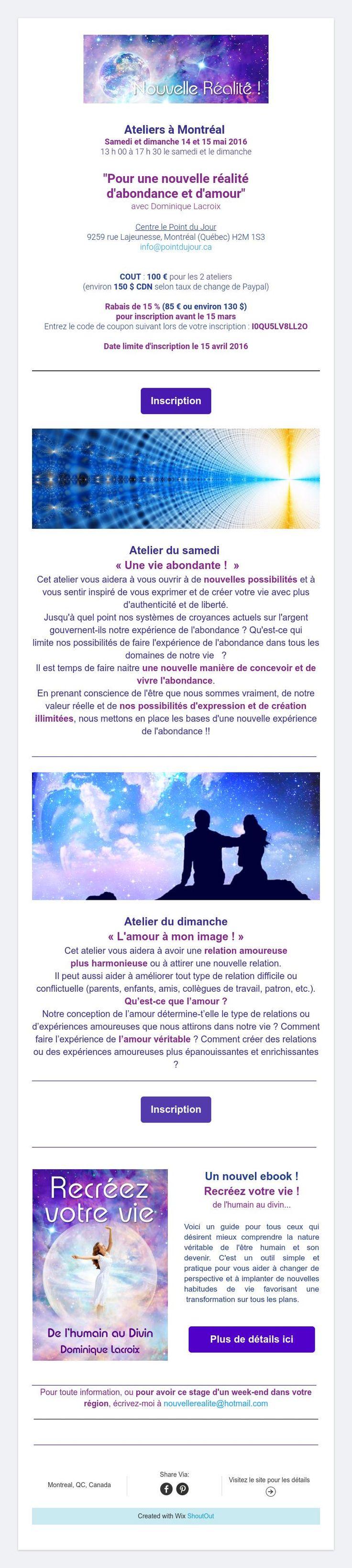 Ateliersà Montréalles 14 et 15 mai 2016