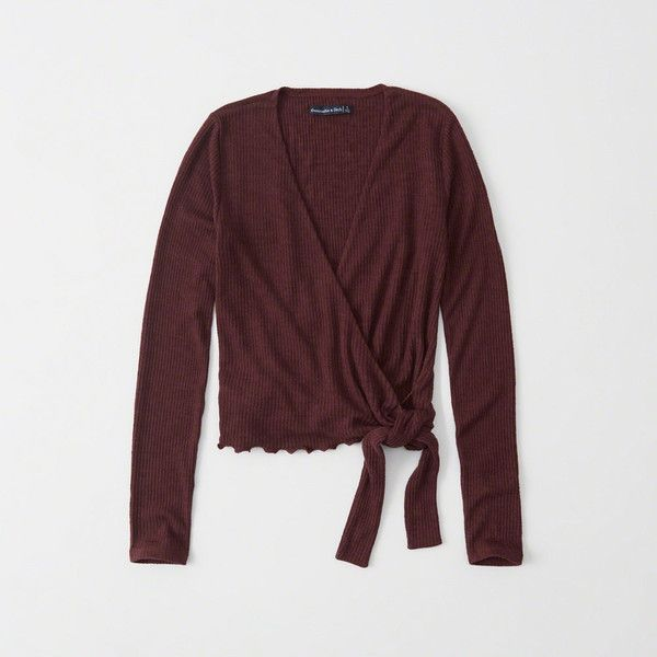Abercrombie & Fitch Long-Sleeve Wrap Top ($19) ❤ liked on Polyvore featuring tops, burgundy, wrap front crop top, burgundy top, long sleeve wrap top, long sleeve crop top and wrap crop top