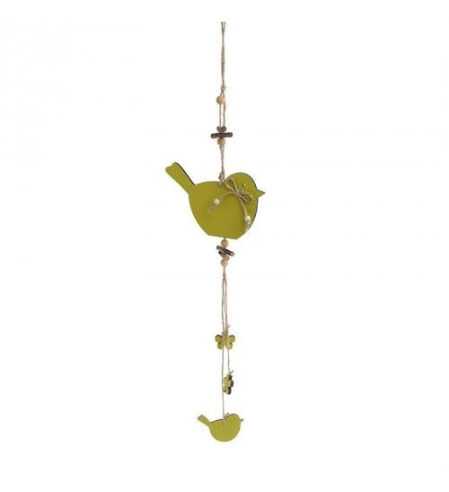 WOODEN HANGING DECORATION 'BIRD' 14X50