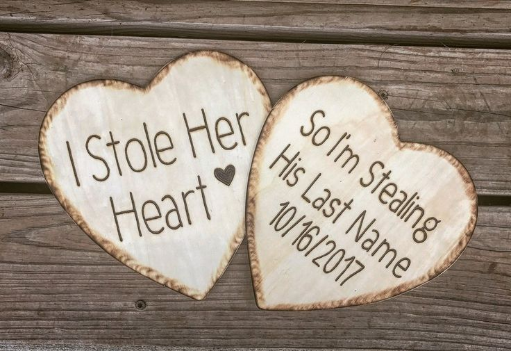 Custom wood burned- I Stole her heart Engagement photo prop. Customize at knotandnestdesigns.com