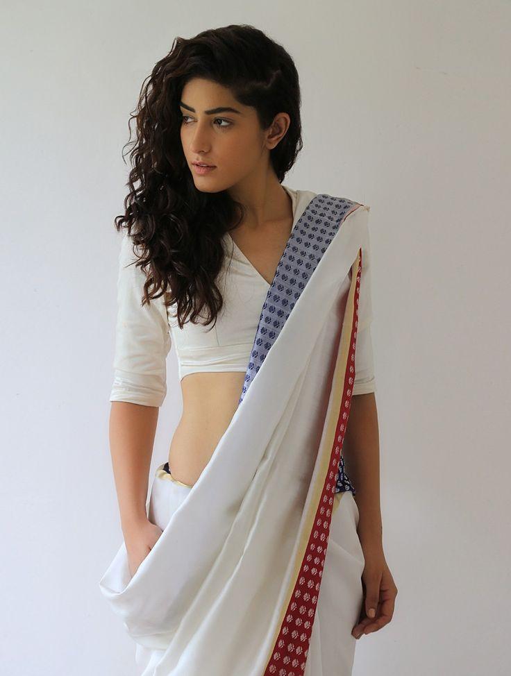 Buy White Deep Red Blue Gold Silver Mehjabeen Silk & Zari Saree By Raw Mango Online at Jaypore.com