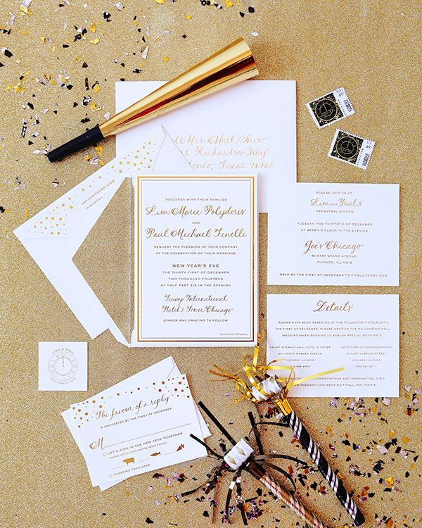 Gold Foil and Glitter New Year's Eve #Wedding Invitations: http://ohsobeautifulpaper.com/2014/12/lisa-pauls-gold-new-years-eve-wedding-invitations/ | Design: Courtney Callahan Paper | Calligraphy: Calligraphy by Cristine | Foil Stamp Printing: Accucolor, Plus | Photo: Heather Roth Photography