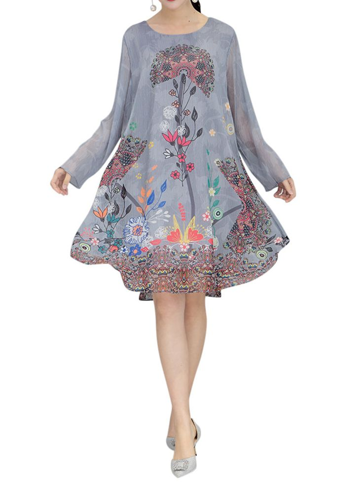 Robes imprimées à manches longues Fleurs imprimées pour femmes