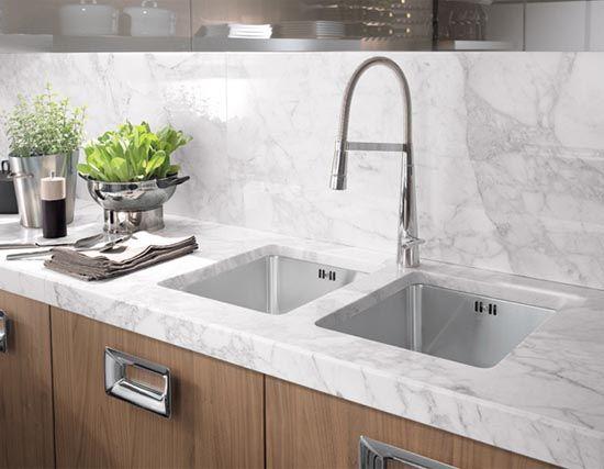 Carrara Marble With Oak Cabinets