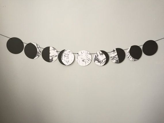 MOON PHASES banner // teen witch, hipster, photo booth, dorm decor, phases of the moon, marbled paper, wiccan, pagan, moon