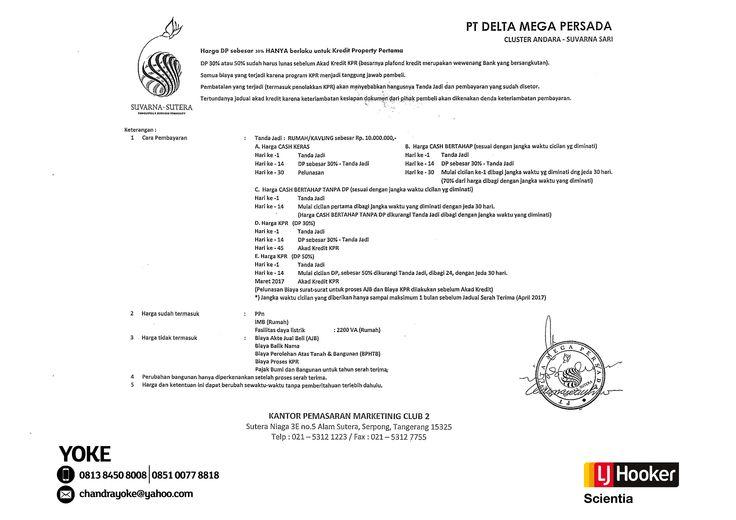 PRICE LIST #3 - Cluster ANDARA @ Suvarna Sari
