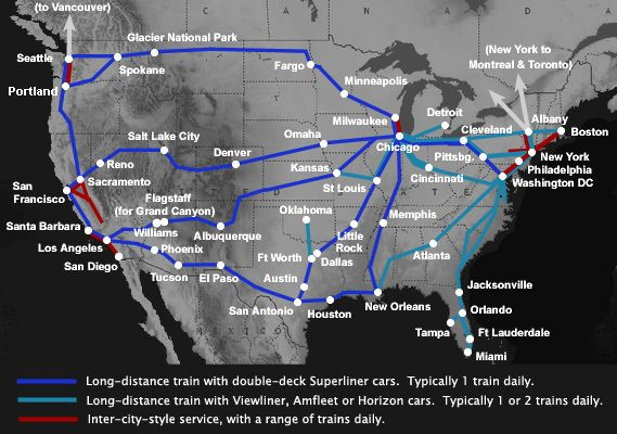 Amtrak train route map of the USA - across USA by train maybe?  I think a road trip might be too long, tiring and on my own dangerous.
