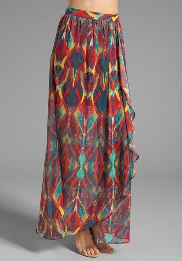 Gorgeous fabric... love the length too. ALICE + OLIVIA Miabella Wrap Slit Maxi Skirt in Tribal Diamond