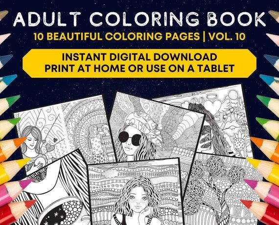 Printable Coloring Book Digital Album Beautiful Coloring Etsy Printable Coloring Book Coloring Books Printable Coloring