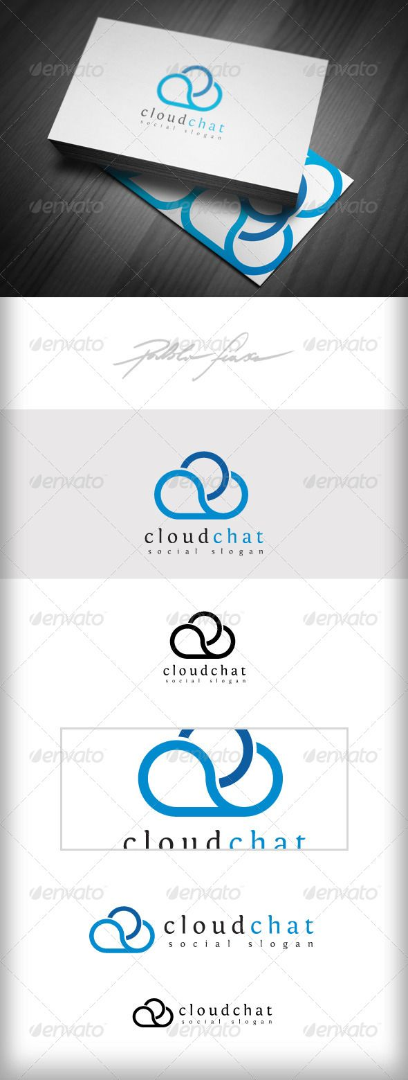 Cloud Chat - Cloud Network Logo - Meteorology Logo | #corporate #branding #creative #logo #personalized #identity #graphic #design #corporatedesign